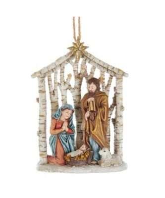 Birch look Holy Family Nativity Ornament