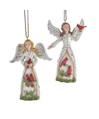 Berry Birch Angel With Cardinals Ornaments, 2 Assorted
