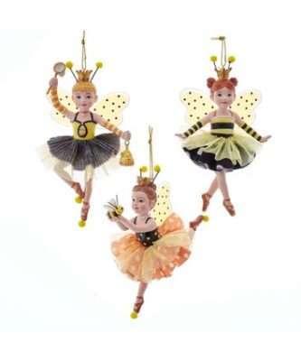 Bumble Bee Ballerina Ornaments, 3 Assorted