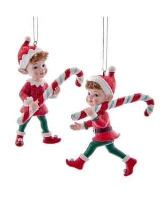 Retro Elf With Candy Cane Ornaments, 2 Assorted
