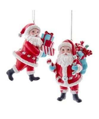 Retro Mint Santa Ornaments, 2 Assorted