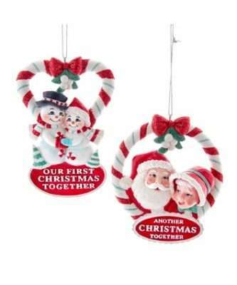 Retro Look Retro Mint Snow Couple And Mr. And Mrs. Santa Ornaments, 2 Assorted
