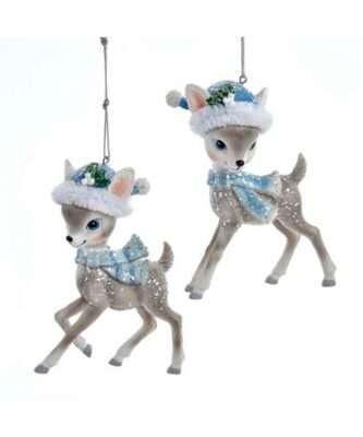 Retro Look Grey Deer With Santa Hat Ornaments