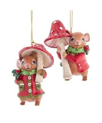 Mouse With Mushroom Ornaments, 2 Assorted