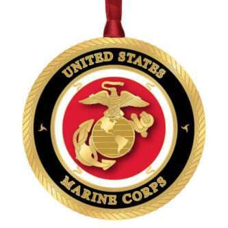 Handcrafted Military Ornament Made in the USA ornament featuring the United States Marine Corps Seal.