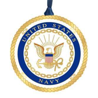 Handcrafted Military Ornament Made in the USA ornament featuring the United States Navy Seal.