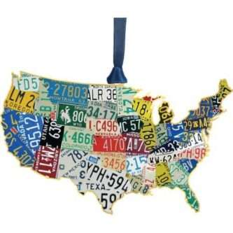Handcrafted USA Ornament Made in the USA ornament featuring the license plates of the states within the map of the United States. A unique and fun gift.
