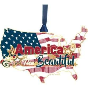 """Handcrafted USA Ornament Made in the USA ornament featuring The United States Flag within the map of the United States with the sentiment, """"America the Beautiful"""""""