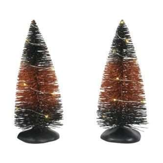 D56 Traditional Halloween Village Trees Set of Two Orange and Black Trees