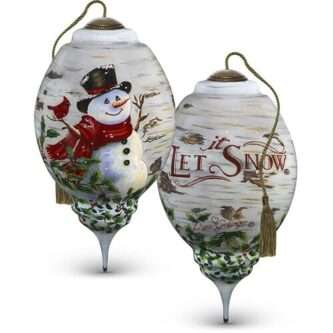 Winter Birch Snowman, Hand Painted Glass Ornament ne'Qwa