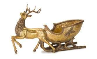 Antique Gold Deer with Sleigh