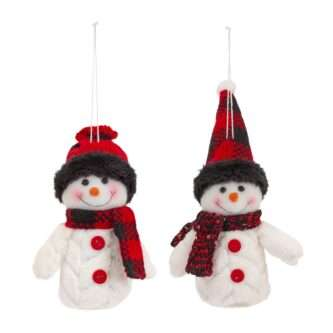 Fluffy Quilted Look Snowman Ornaments