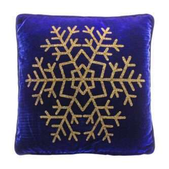 Royal Blue Pillow with Gold Snowflake