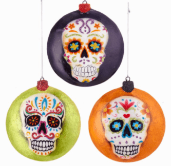 Day Of The Dead Face Disc Ornaments, 3 Assorted