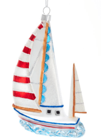 Glass Sailboat Ornament
