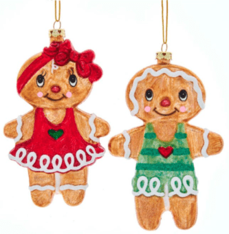 Gingerbread Boy and Girl Ornaments, 2 Assorted