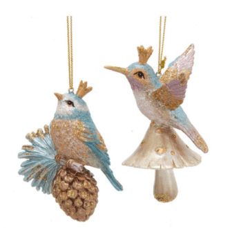 Crown Bird On Pinecone And Mushroom Ornaments