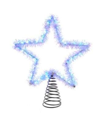 55-Light Cool White Silver Tinsel Star Treetop