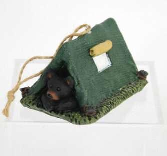 Black Bear in Tent Ornament
