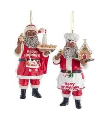 African American Chef Santa Ornaments
