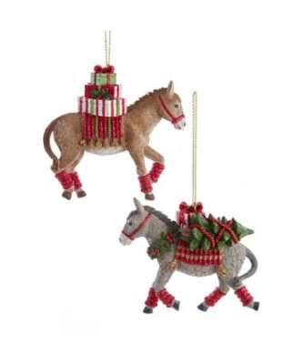 Gray and Tan Donkey With Gifts Ornaments, 2 Assorted