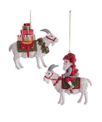 Goat With Santa and Gift Boxes Ornaments