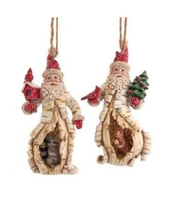 Birch Berry Santa With Animal Ornaments