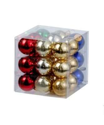 25MM Miniature Multi-Colored Shiny Glass Ball Ornaments, 27-Piece Box Set