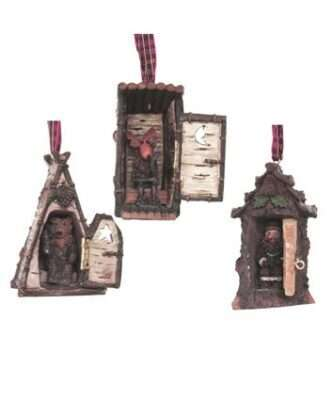 Hinged Cottage Ornaments, 3 Assorted