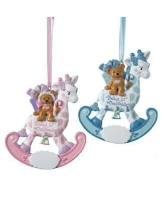 Pink or Blue Rocking Giraffe Ornament Personalized for Baby