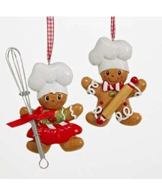 Gingerbread Boy and Girl Chef Ornaments