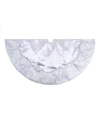 """48"""" Silver Satin With Printed Border Tree Skirt"""