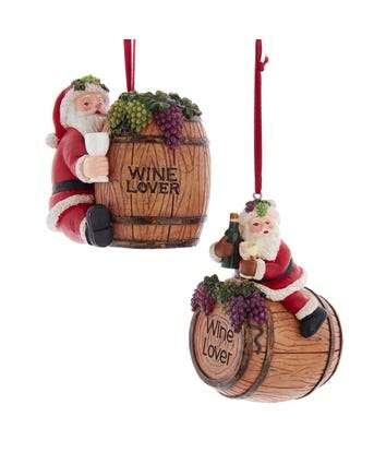 Santa Wine Barrel Ornaments