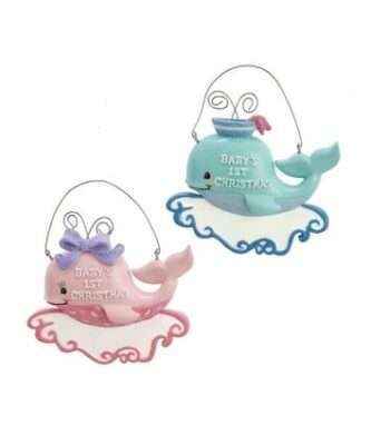 """""""Baby's 1st Christmas"""" Boy and Girl Whale Ornament"""