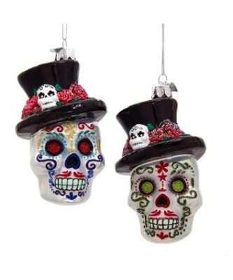 Glass Skeleton Head Ornaments