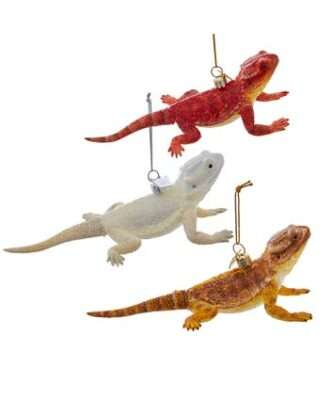 Glass Bearded Dragon Ornaments, 3 Assorted