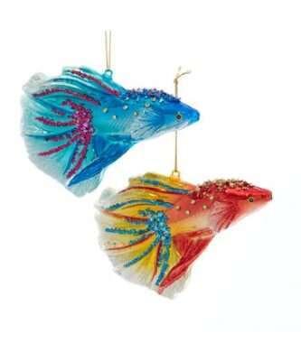Glass Colorful Beta Fish Ornaments