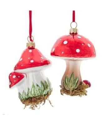 Glass Mushroom With Glitter Ornaments, 2 Assorted