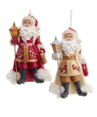 Gold and Burgundy Santa Ornaments