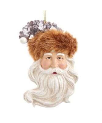 Santa Head Ornament with Pinecone hat and fur trim ornament