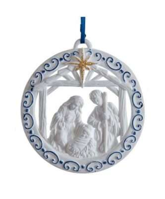 White and Blue Nativity Family Ornament
