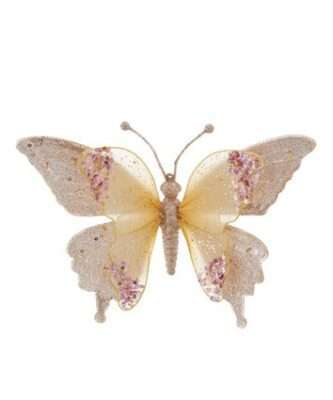 Gold and Pink Lace Butterfly Clip-On Ornament