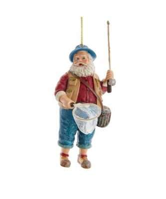 Fishing Santa With Rod and Net Ornament