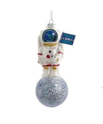 Astronaut On Moon With Flag Glass Ornament