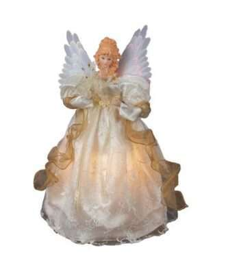 Fiber-Optic Ivory and Gold Animated Angel Lighted Treetop