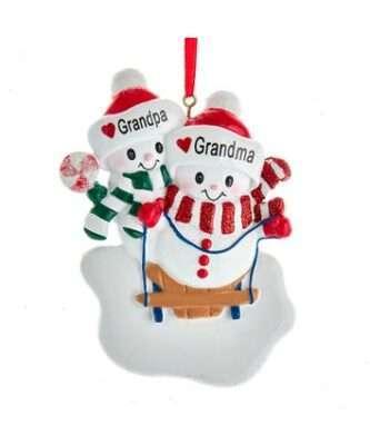 Grandma and Grandpa Snow Couple Ornament for Personalization