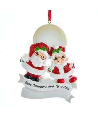"""""""Best Grandma and Grandpa"""" Mr. and Mrs. Claus Ornament For Personalization"""