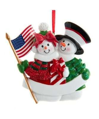 Patriotic Snow Couple Ornament For Personalization