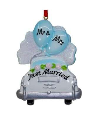 """""""Mr. and Mrs. Just Married"""" Wedding Car Ornament For Personalization"""