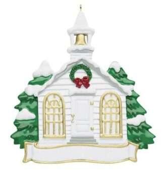 Little White Church Chapel Ornament Personalize